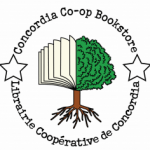 Concordia co-op bookstore logo - half tree beside half book