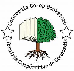Concordia co-op bookstore logo - half tree beside half book